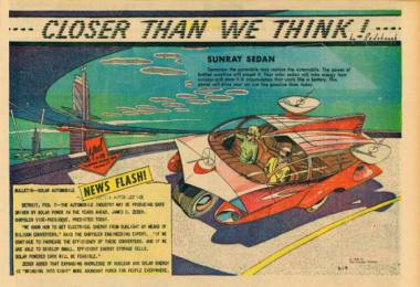 One day, cars will be powered by the sun. via Paleofuture / Arthur Radebaugh