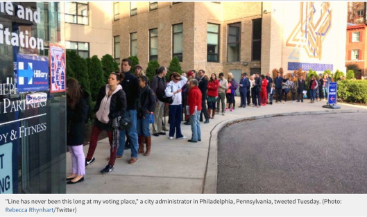 """Line has never been this long at my voting place,"""" a city administrator in Philadelphia, Pennsylvania, tweeted Tuesday. (Photo: Rebecca Rhynhart/Twitter)"""