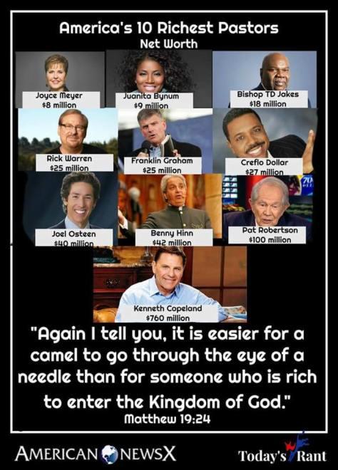 Bible ten richest pastors easier to pass through eye of needle rich man