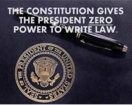 Constitution gives president zero power to write law or executive orders Sue Annear