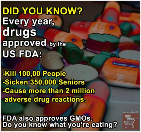 deaths illnesses due to drugs Big Pharma FDA also approved GMO