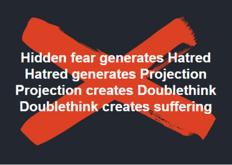 fear creates hatred creates projection creates doublethink creates suffering