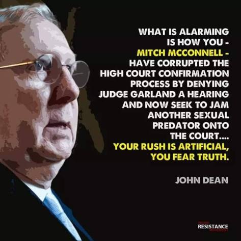 Kavanaugh rushed mitch mcconnell corrupted judge hearing process deny Obama Garland vote Michael Matthew