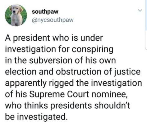 Kavanaugh Trump obstruction of justice conspiracy rigging FBI investigation process Michael Matthew