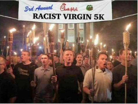 KKK rally art tiki torches racist virgins Michelle Paris