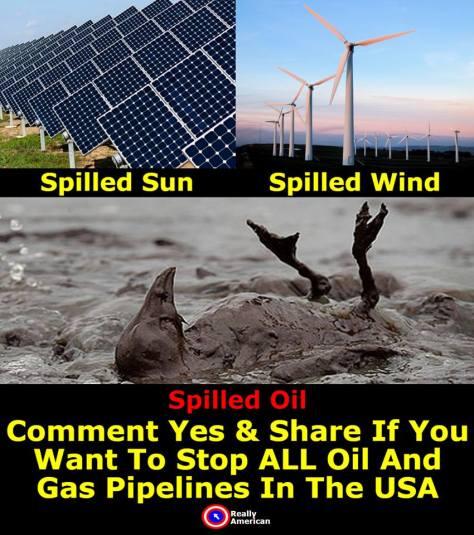 oil spills solar spills wind spills