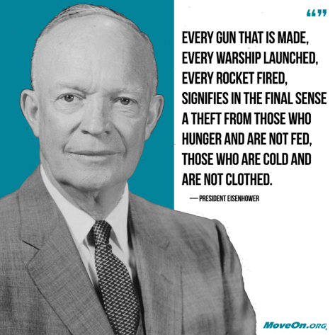 quote every warship built is theft Moveon.org