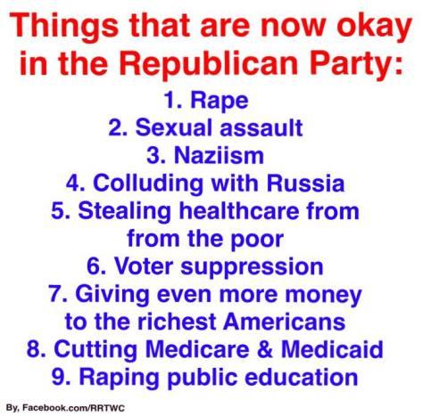 Republican party values platform voters rape sexual assault nazi KKK