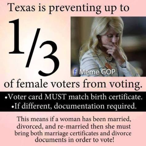 Republicans voter ID law preventing many women from voting texas Ellie Isenburger Stern