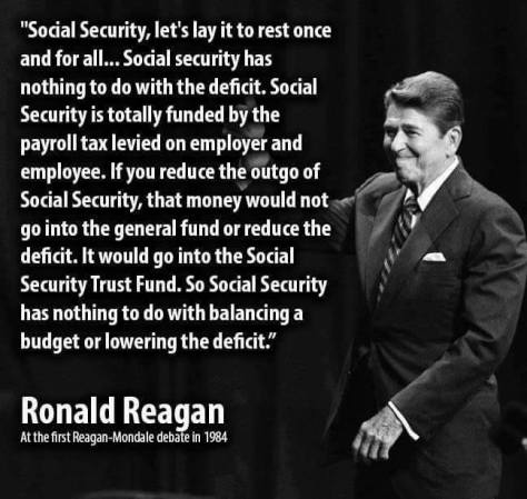 Social security not entitlement or welfare Reagan Quote New Blue United