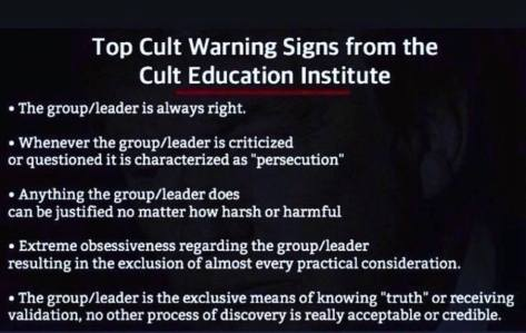 Sociopath cult warning signs