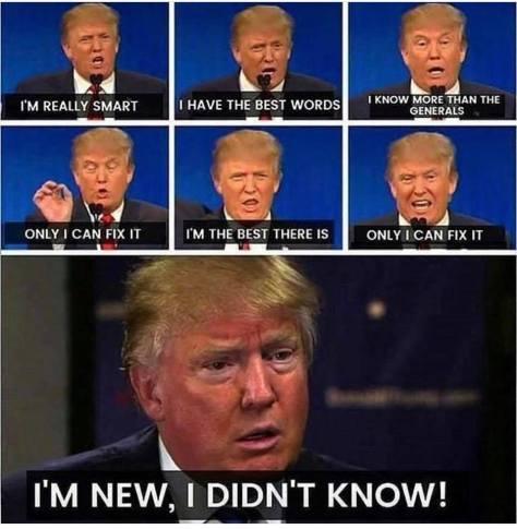 Trump con man sociopath double speak New Blue United