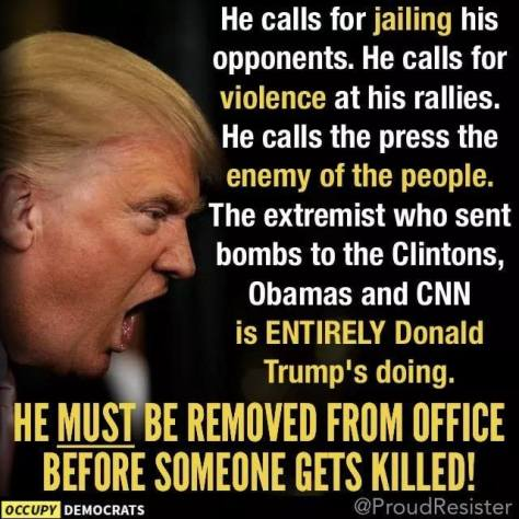 Trump enemy of the people press violence against politicians bomber acted on Trump orders
