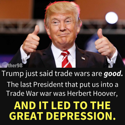 Trump says trade war is great tariffs great depression