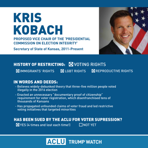 Voting fraud election voter suppression Kris Kobach ACLU lawsuits