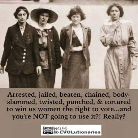 Women chained beaten tortured jailed for right to vote revolution sexism racism white male supremacy Becky S Hadley